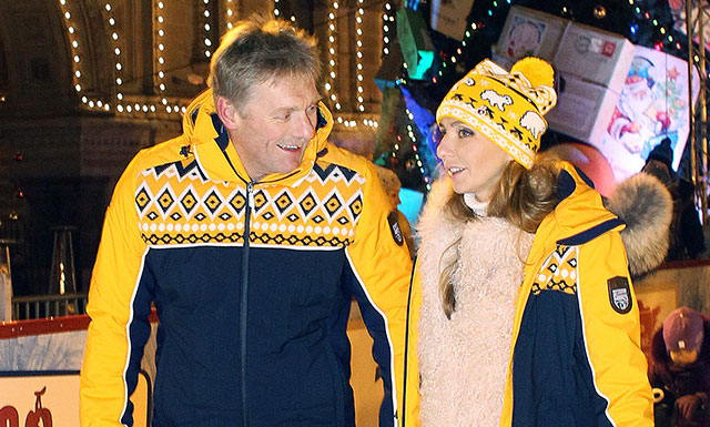 Дмитрий Песков и Татьяна Навка на открытии катка на Красной площали