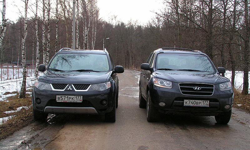Кроссоверы Mitsubishi Outlander и Hyundai Santa Fe