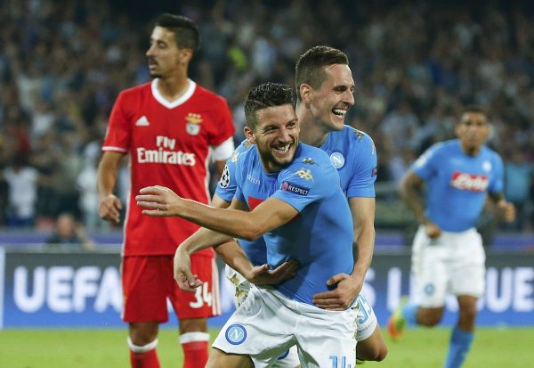Football - Soccer - Napoli v Benfica - UEFA Champions League Group Stage - Group B - San Paolo Stadium, Naples, Italy - 28/09/2016. Napoli's Dries Mertens celebrates after scoring against Benfica. REUTERS / Ciro De Luca